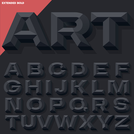 Vector 3D black bold beveled alphabet with shadow. Simple colored version. Illustration