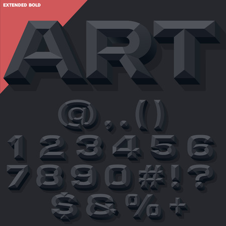 Vector 3D black set of bold beveled numbers and symbols with shadow. Simple colored version.