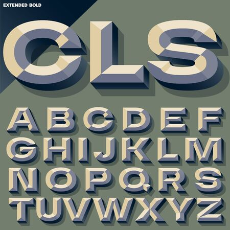 beveled: Vector illustration of old school bold beveled alphabet. Simple colored version