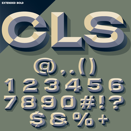 beveled: Vector set of old school bold beveled numbers and symbols. Simple colored version