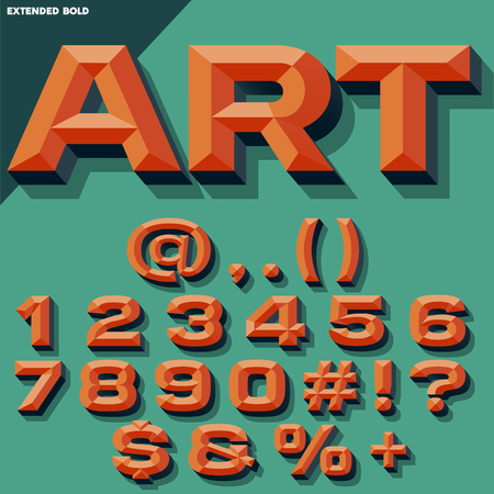 beveled: Vector 3D bright set of bold beveled numbers and symbols with shadow. Multicolored version. Illustration