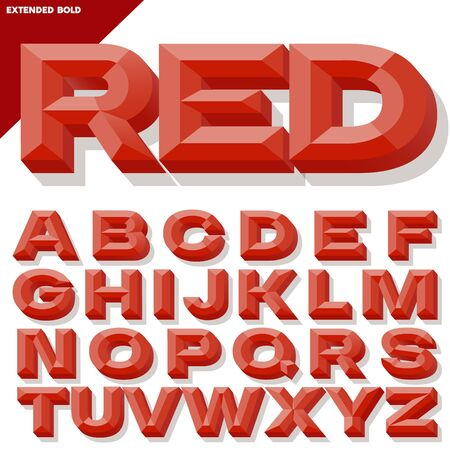 chiseled: Vector 3D red bold beveled alphabet with shadow. Simple colored version.