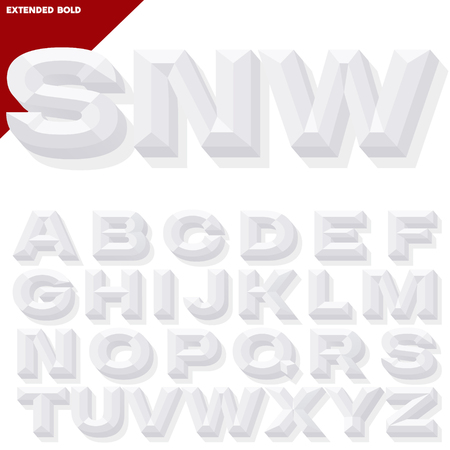 Vector 3D white bold beveled alphabet with shadow. Simple colored version. Illustration