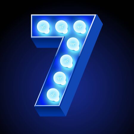 event party festive: Vector festive alphabet with blue lamp. Number 7