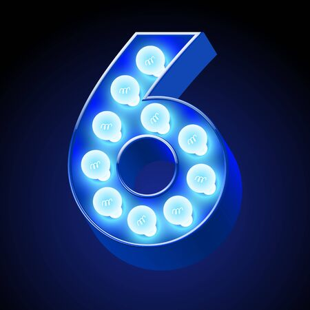 event party festive: Vector festive alphabet with blue lamp. Number 6 Illustration