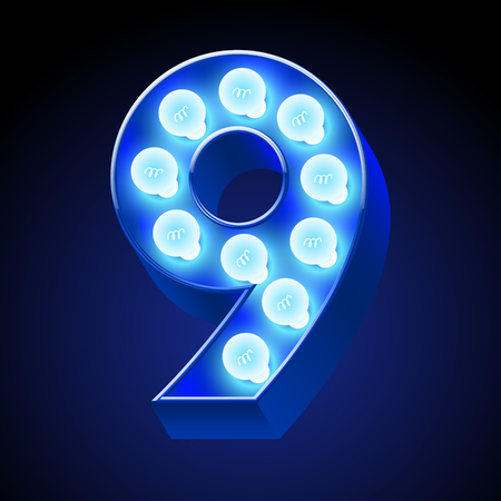 lamp vector: Vector festive alphabet with blue lamp. Number 9 Illustration