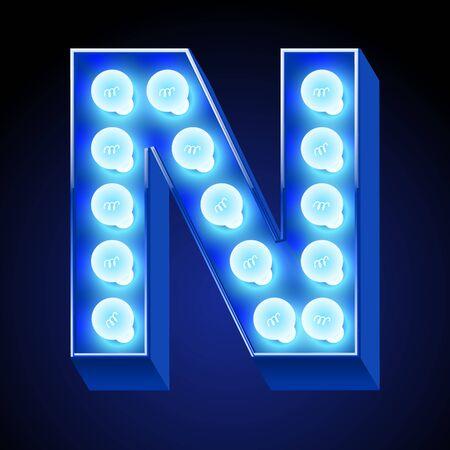Vector festive alphabet with blue lamp. Letter N
