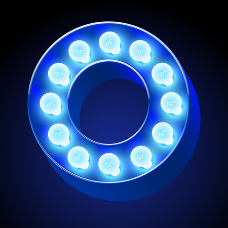 festive: Vector festive alphabet with blue lamp. Letter O Illustration