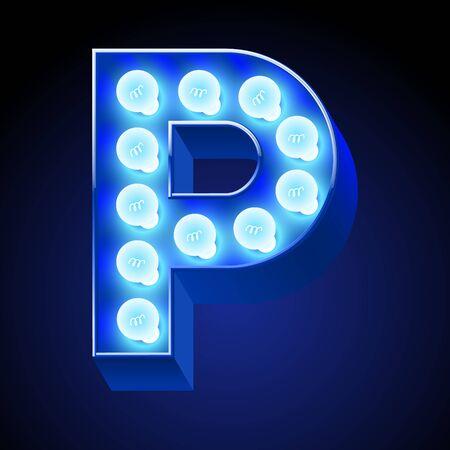 Vector festive alphabet with blue lamp. Letter P