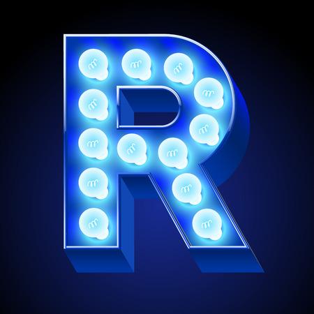 festive: Vector festive alphabet with blue lamp. Letter R