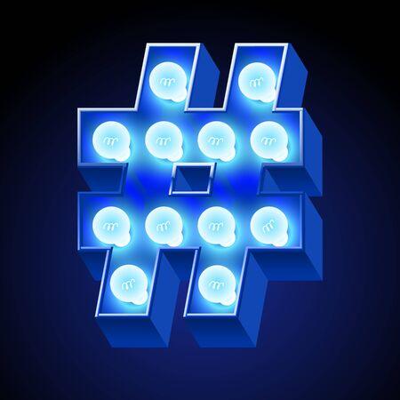 festive: Vector festive alphabet with blue lamp. Symbols Illustration