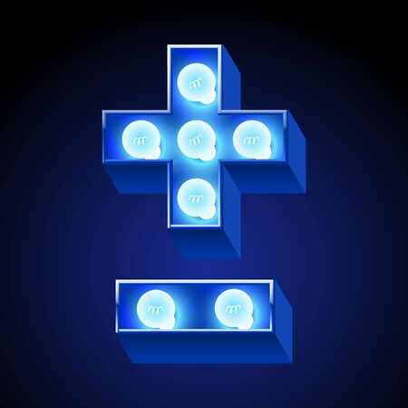 festive: festive alphabet with blue lamp. Symbols