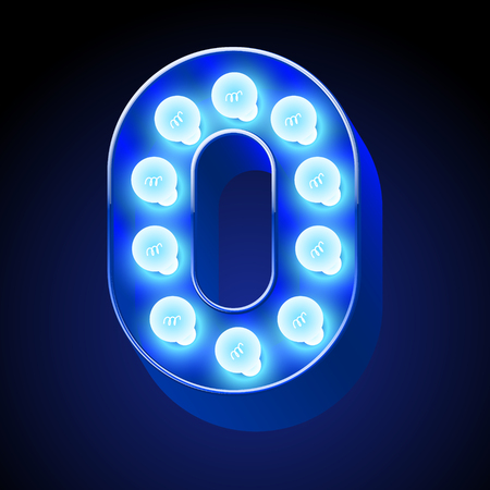 event party festive: Vector festive alphabet with blue lamp. Number 0