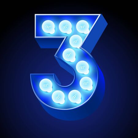 event party festive: Vector festive alphabet with blue lamp. Number 3 Illustration