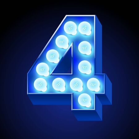 lamp vector: Vector festive alphabet with blue lamp. Number 4