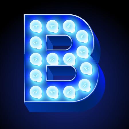 lamp vector: Vector festive alphabet with blue lamp. Letter B