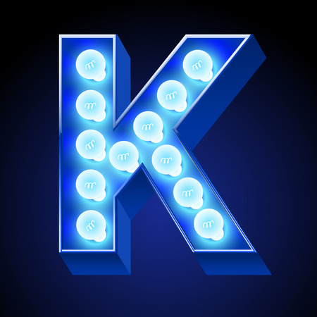 winter theater: Vector festive alphabet with blue lamp. Letter K Illustration