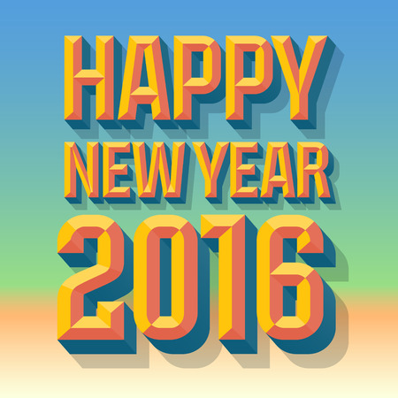 chiseled: Vector Happy 2016 new year greeting card with 3D summer condense beveled text for warm celebration