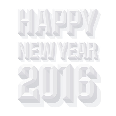 Vector Happy 2016 new year greeting card with 3D white condense beveled text.