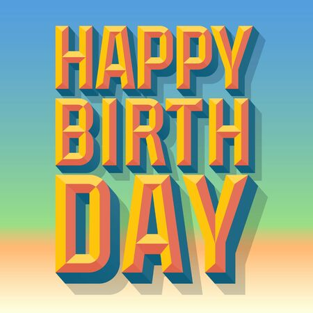 beveled: Happy birthday vector card with 3D summer condense beveled text