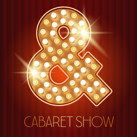 shiny gold: Vector shiny gold lamp alphabet in cabaret show style. Symbol Illustration