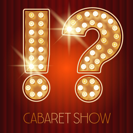 showtime: Vector shiny gold lamp alphabet in cabaret show style. Symbol Illustration