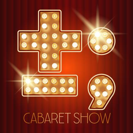 Vector glänzenden Gold Lampe Alphabet in Kabarett-Show-Stil. Symbol Standard-Bild - 49964627