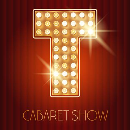 lampada: Vector oro lucido lampada alfabeto in spettacolo di cabaret stile. lettera T