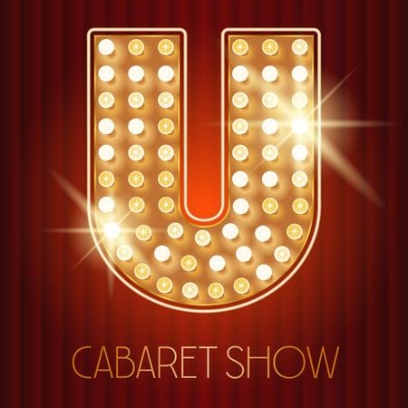 Vector glänzende Gold Lampe Alphabet in Kabarett-Show-Stil. Buchstabe U Standard-Bild - 49964628