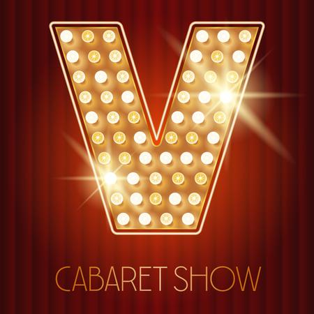 shiny gold: Vector shiny gold lamp alphabet in cabaret show style. Letter V Illustration