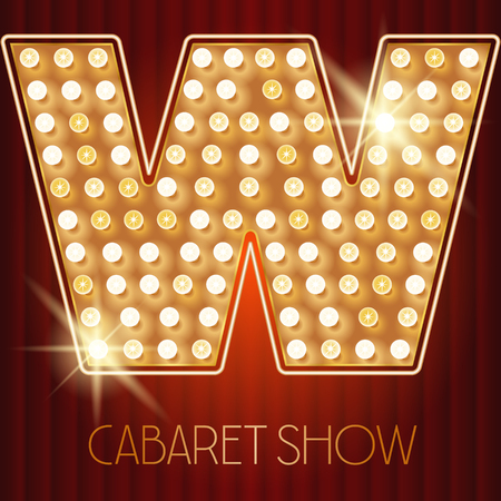 Vector shiny gold lamp alphabet in cabaret show style. Letter W