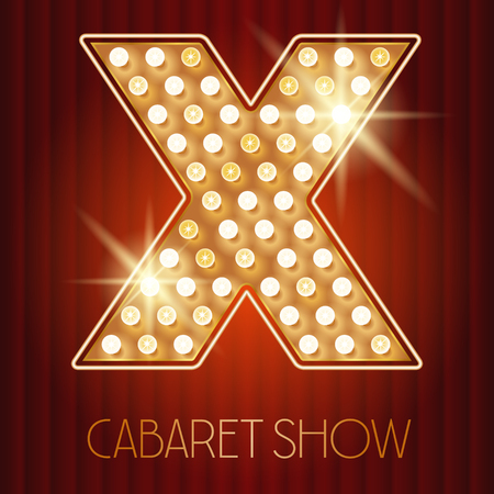 cabaret: Vector shiny gold lamp alphabet in cabaret show style. Letter X