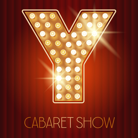 style: Vector shiny gold lamp alphabet in cabaret show style. Letter Y
