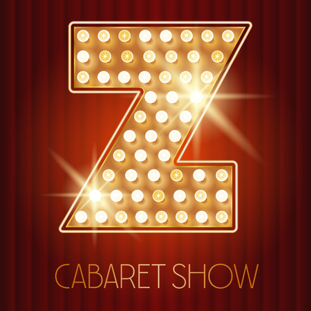 letter a z: Vector shiny gold lamp alphabet in cabaret show style. Letter Z