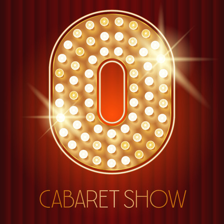 Vector shiny gold lamp alphabet in cabaret show style. Number 0 Illustration