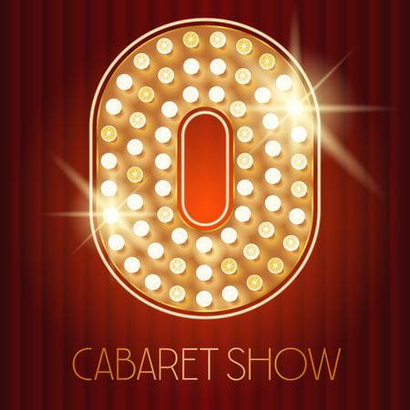 lampada: Vector oro lucido lampada alfabeto in spettacolo di cabaret stile. numero 0