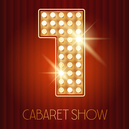 1: Vector shiny gold lamp alphabet in cabaret show style. Number 1