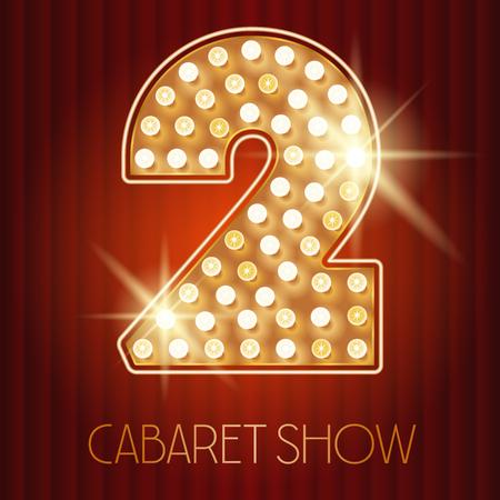 Vector glänzende Gold Lampe Alphabet in Kabarett-Show-Stil. Nummer 2 Standard-Bild - 49964641