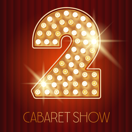 golden font: Vector shiny gold lamp alphabet in cabaret show style. Number 2 Illustration