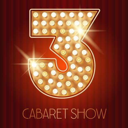 Alfabeto vector lámpara de oro brillante en el espectáculo de cabaret estilo. Numero 3 Foto de archivo - 49964644
