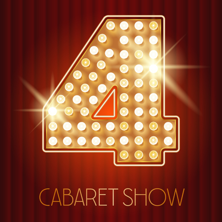 cabaret: Vector shiny gold lamp alphabet in cabaret show style. Number 4