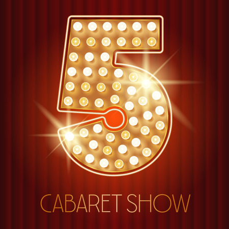 cabaret: Vector shiny gold lamp alphabet in cabaret show style. Number 5