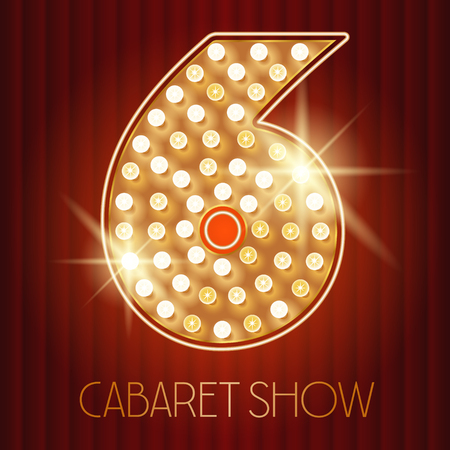cabaret: Vector shiny gold lamp alphabet in cabaret show style. Number 6