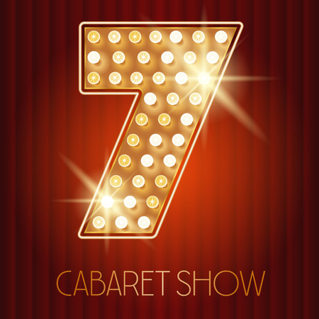cabaret: Vector shiny gold lamp alphabet in cabaret show style. Number 7