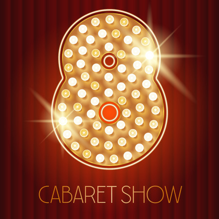 Vector shiny gold lamp alphabet in cabaret show style. Number 8