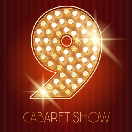 cabaret: Vector shiny gold lamp alphabet in cabaret show style. Number 9