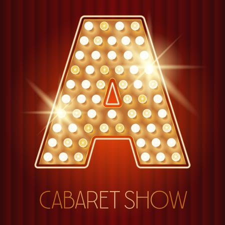 キャバレー ショー スタイルでベクトルの光沢のあるゴールド ランプ アルファベット。A