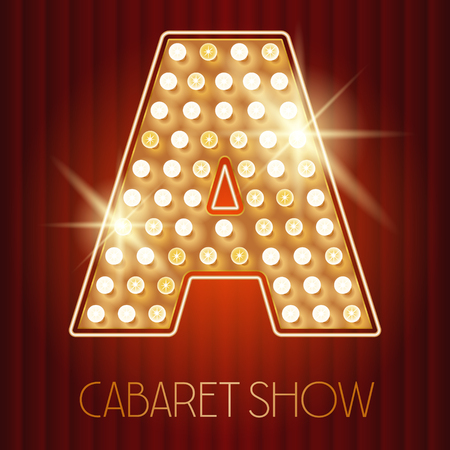 Vector shiny gold lamp alphabet in cabaret show style. Letter A Illustration