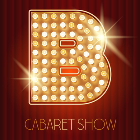 Vector shiny gold lamp alphabet in cabaret show style. Letter B Illustration