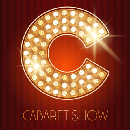 Vector glanzende gouden lamp alfabet in cabaretvoorstelling stijl. letter C Stock Illustratie